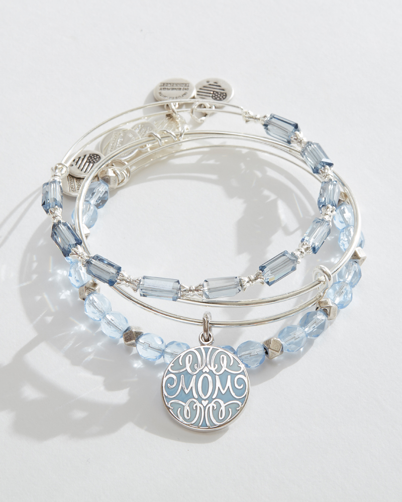 B Crystal Blue Exchange Initial Expandable Wire Bracelets