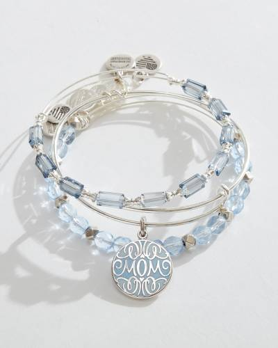 Exclusive Mother's Day Bangles Set of 3 in Rafaelian Silver Finish