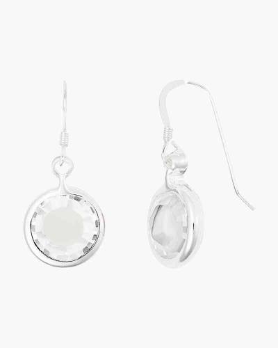 April Birthstone Drop Earrings in Shiny Silver Finish
