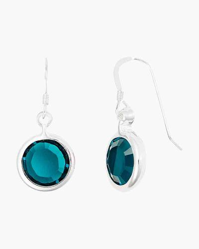 May Birthstone Drop Earrings in Shiny Silver Finish