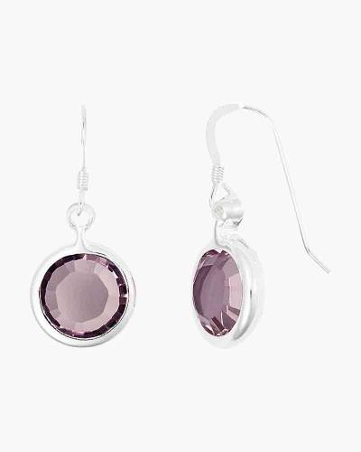 June Birthstone Drop Earrings in Shiny Silver Finish