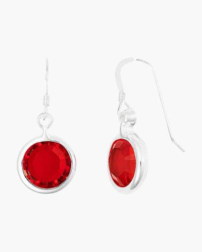 July Birthstone Drop Earrings in Shiny Silver Finish