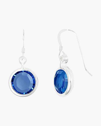 September Birthstone Drop Earrings in Shiny Silver Finish