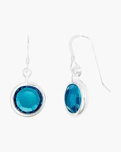 December Birthstone Drop Earrings in Shiny Silver Finish