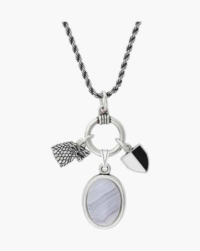 Game of Thrones Arya Stark Adjustable Trio Necklace in Rafaelian Silver Finish