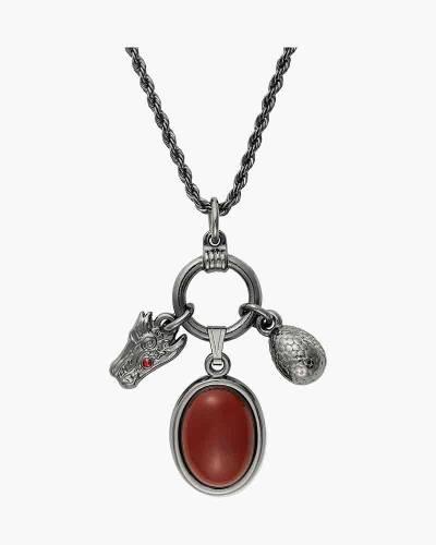 Game of Thrones Targaryen Adjustable Trio Necklace in Midnight Silver Finish