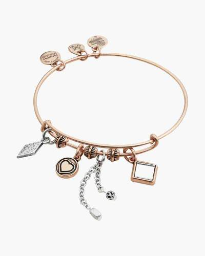 Love Cluster Expandable Wire Bangle in Two-Tone Rafaelian Rose Gold Finish