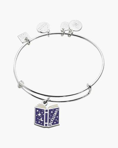 Blessings Book Expandable Charm Bangle in Shiny Silver Finish