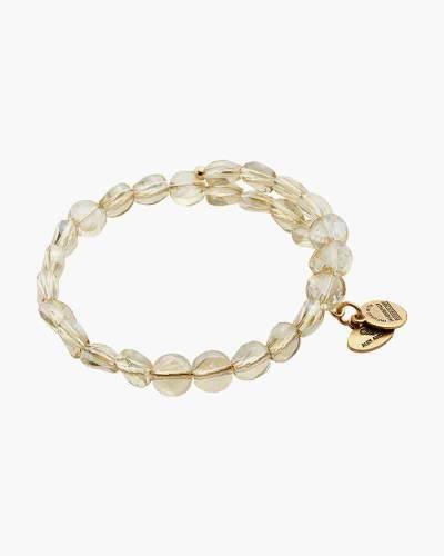 Ice Luminous Beaded Wrap Bracelet in Rafaelian Gold Finish
