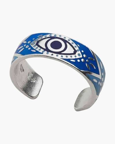 Evil Eye Adjustable Cuff Ring Sterling Silver