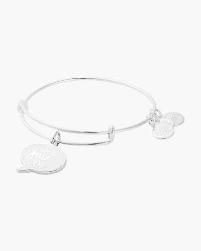 Friends How You Doin Expandable Wire Bangle in Shiny Silver Finish