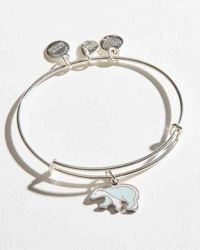 Exclusive Polar Bear Charm Bangle in Shiny Silver Finish