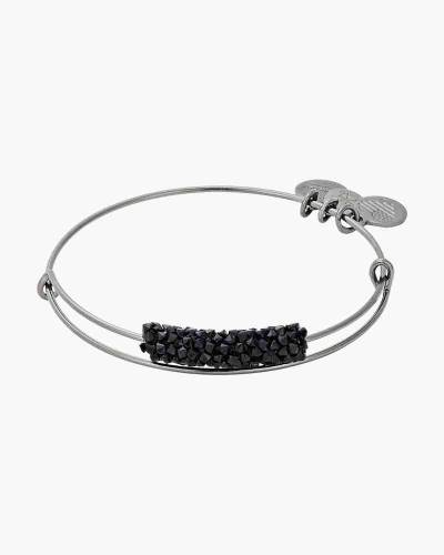 Silent Night Fine Rocks Beaded Bangle in Midnight Silver