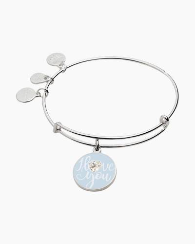 I Love You Charm Bangle in Shiny Silver Finish