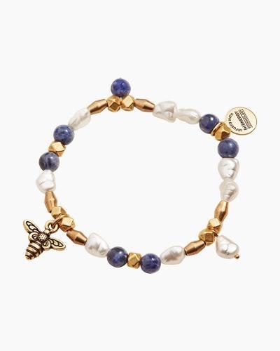Honey Bee Beaded Charm Stretch Bracelet in Shiny Gold