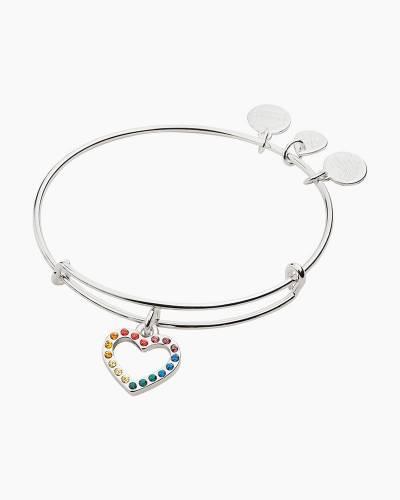 Crystal Infusion Rainbow Heart Bangle in Shiny Silver Finish