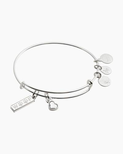 Woof Duo Charm Bangle in Shiny Silver Finish