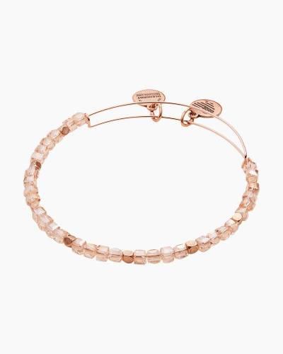 Soft Pink Balance Bead Bangle in Rafaelian Rose Gold Finish