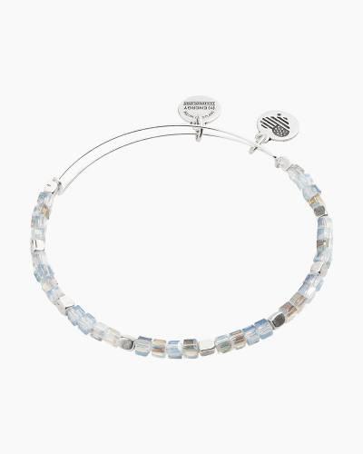 Light Blue Balance Bead Bangle in Rafaelian Silver Finish