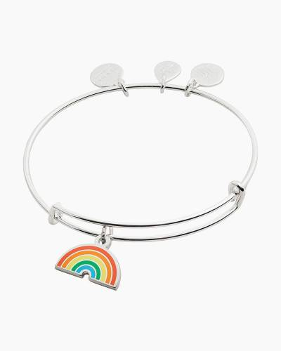 Color Infusion Rainbow Bangle in Shiny Silver Finish