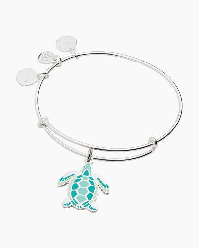 Exclusive Turtle Charm Bangle in Shiny Silver Finish