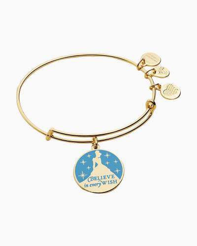 Disney Princess Cinderella Believe in Every Wish Charm Bangle in Shiny Gold