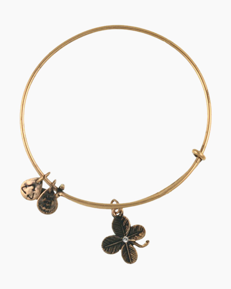 Alex and Ani Lucky Clover Charm Bangle in Rafaelian Gold Finish