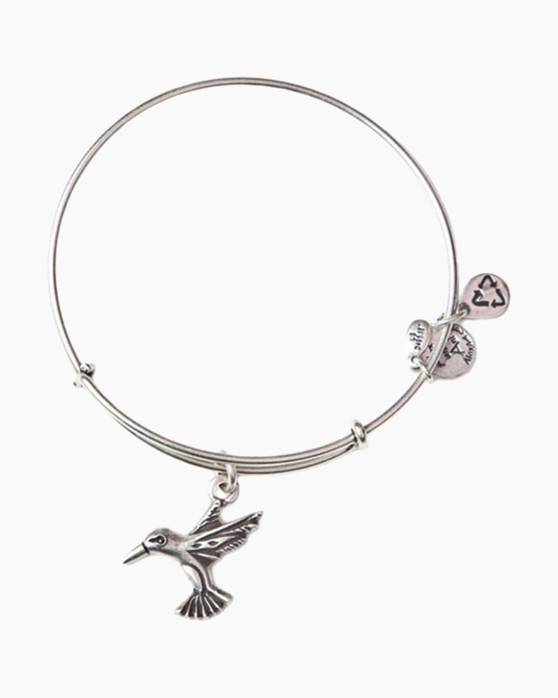 Alex and Ani Hummingbird Charm Bangle in Rafaelian Silver Finish