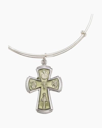 Sacred Cross Charm Bangle