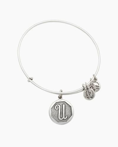 Initial U Charm Bangle - Silver