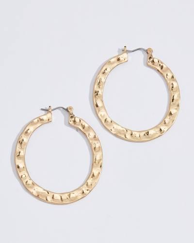 Flat Hammered Hoop Earrings in Gold