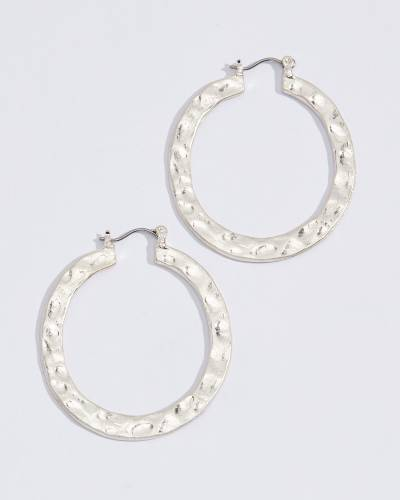 Flat Hammered Hoop Earrings in Silver