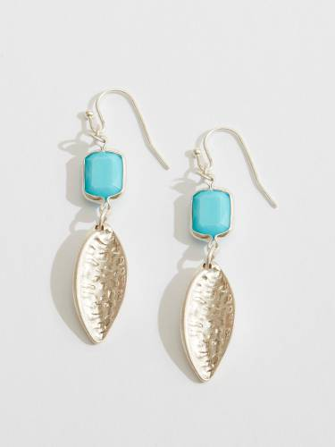 Hammered Leaf and Bead Earrings