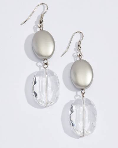 Silver and Clear Drop Earrings