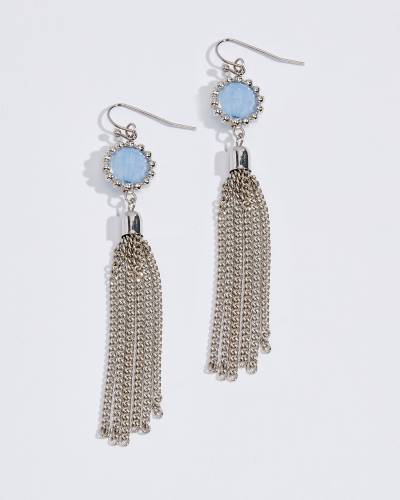 Beaded Metal Fringe Earrings