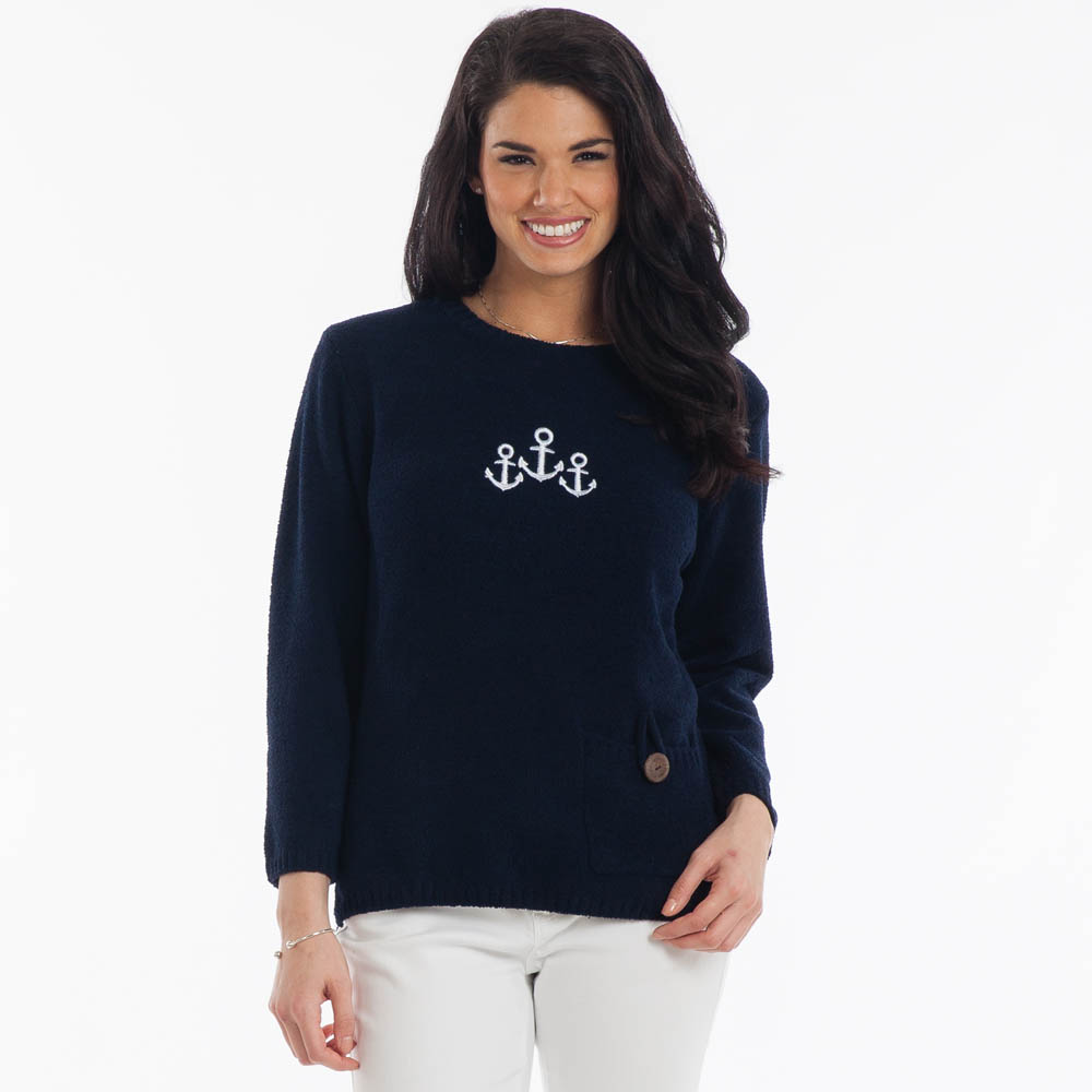 Lulu B Embroidered Anchor Sweater in Navy Blue