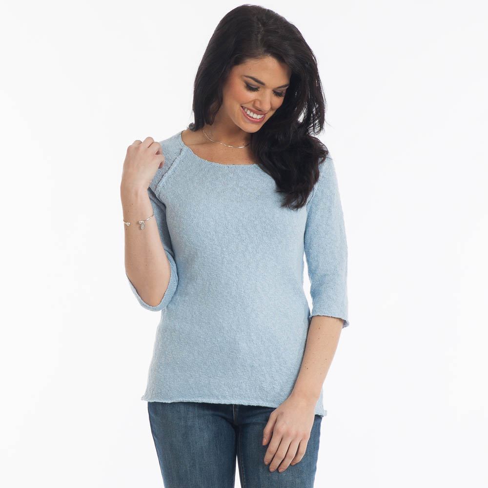 Lulu B Raglan Sweater in Dusty Blue