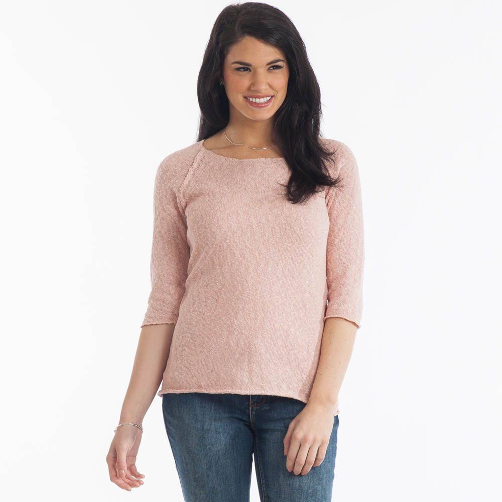 Lulu B Raglan Sweater in Dusty Pink