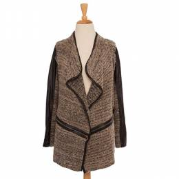 Mad About Style Charcoal and Faux Leather Trim Cardigan