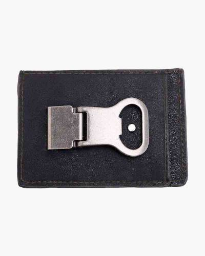 Leather Money Clip with Beer Opener in Black