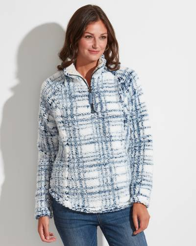 Exclusive Faux Fur Quarter Zip Jacket in Blue and White