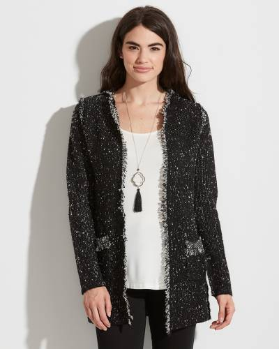 Exclusive Black and White Speckled Cardigan