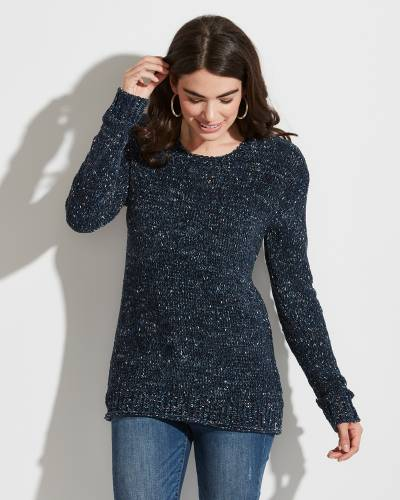 Exclusive Speckled Navy Knit Sweater
