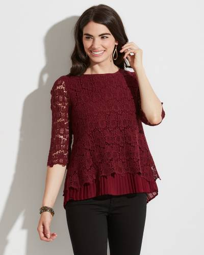 Exclusive Burgundy Crochet Lace Top