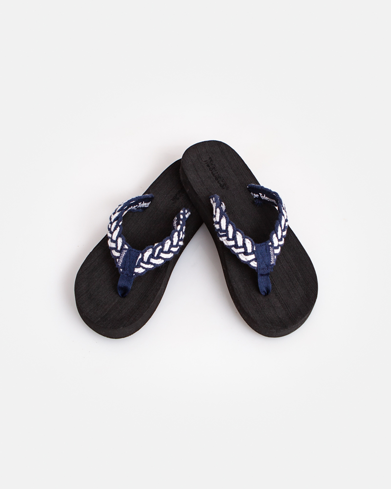 a3dc31c79a89 Tidewater Sandals Blue and White Braid Flip Flops
