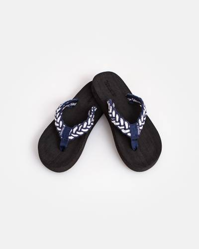 Blue and White Braid Flip Flops