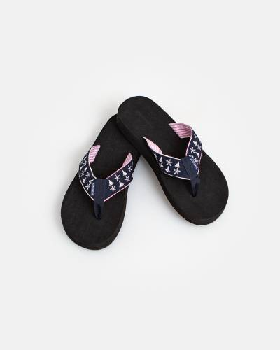 Navy Starfish and Sailboats Flip Flops