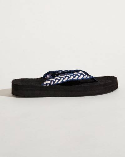 Multicolor Braided Strap Flip Flops