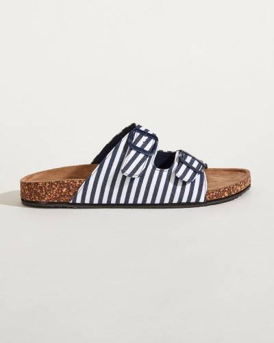 Striped Buckle Strap Sandals in Blue