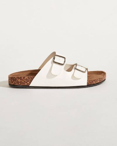 Buckle Strap Sandals in White
